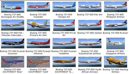 180 Liveries Collection Pack per a B737-800 FSX  &  P3D