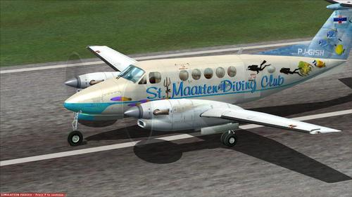 Beechcraft Super King Aire 300 St. Maarten Diving Club FS2004
